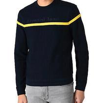 Armani Jeans Mens Embroidery Logo Sweatshirt Small Black/yellow Photo