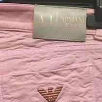 Armani Jeans Pink and Rose Gold Raised Floral Stretchy Women's Jeans Rrp 195 Photo