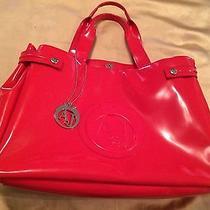 Armani Jeans Shopping Bag Woman to Handle in Gloss Paint Pvc Red Photo