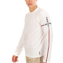 Armani Jeans T-Shirt Top Size L Printed Logo Long Sleeve Crew Neck Photo