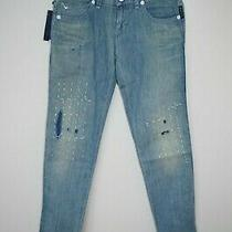 Armani Jeans W 29 Womens Slim Skinny Blue Dye Faded Ripped Summer Thin Light New Photo