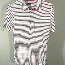 Armani Jeans Women's White Red Striped Polo Top Size S Photo