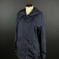 Armani Jeans Women's Windbreaker Nylon Jacket Navy Blue Size Us 8 Photo
