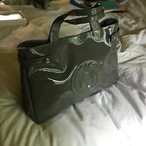 Armani Jeans Women Satchel Bag Grey Faux Patent Leather Handbag Messenger Photo