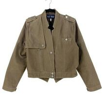 Armani Jeans Womens Jacket Coat Brown Short Cropped Buttons Lined 100% Cotton 10 Photo