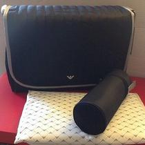 Armani Junior Baby Navy Handbag Diaper Bag Bottle Holder Changing Pad Nwt New Photo