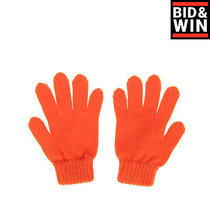 Armani Junior Everyday Gloves Size 7y Orange Wool Blend Ribbed Cuffs Photo