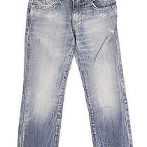 Armani Junior Jeans Size 6y / 118cm Distressed Faded Crumpled Embellished Logo Photo