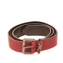 Armani Junior Leather Belt Size 81 / Xl Matte Panel Pin Buckle Made in Italy Photo