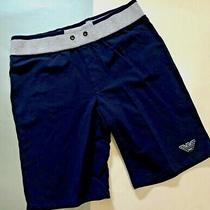 Armani Junior Navy & Grey Pullon Sweat Shorts With Leg Logo Sz. 14a Photo