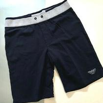 Armani Junior Navy With Grey Sweat Shorts Pullon  Leg Logo/back Pocket Sz. 14a Photo