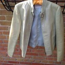 Armani Size 40 Lime/ Silver Leather Jacket. Orig 450 Also Selling Similar. Photo