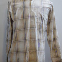 Armani Suits Button-Front Tan Plaid Shirt L Photo