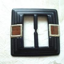 Art Deco Celluloid Buckle  Imitation Wood Accents  as Found Photo