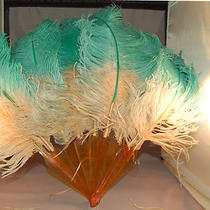 Art Deco Era Original Ostrich Feather Hand Fan Aqua Blue/pink Celluloid Sticks. Photo