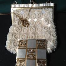 Art  Deco Stunning Vintage Fine Arts Beaded Purse Mother of Pearl and a Compact Photo