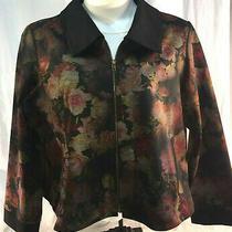 Art of Cloth New Rose Jacket Black Floral Zip Coat Beautiful Bloom Plus 3x Nwot Photo