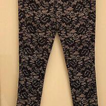 Artelier Nicole Miller Black Floral Lace Print Skinny Jeans Cotton Size 2 Photo