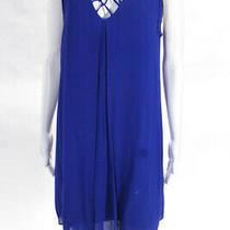 Artelier Nicole Miller Blue Sleeveless Latticework Dress 265 Size 6 10311623 Photo