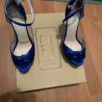 Artelier Nicole Miller Royal Blue Ankle Strap Peep Toe High Heels Photo