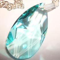Artisan Made Dramatic Large Aqua Rhinestone Pendant & Necklace Photo