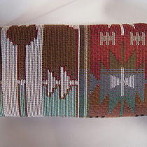 Artisan Treasures Handcrafted Brown &aqua Southwest Tapestry Lrg Glass Case New  Photo