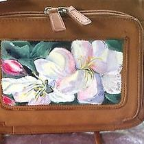 Artist Painted Fossil Leather White Florals Handbag Photo