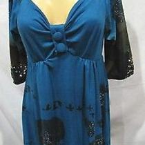 Aryeh Anthropologie Dress Teal Dear Trees Birds Stretch Sz M Photo