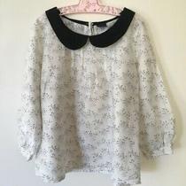 As New Gap Kids Size 6 Silk Cotton Girls White Top 'Brighton' Collar Sleeves Photo
