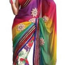 Asian Ethnic Cultural and Treditional Fancy Color Casual Wear Saree Sari 2868 Photo