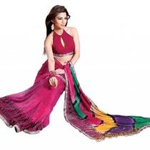 Asian Ethnic Cultural and Treditional Fancy Color Casual Wear Saree Sari 2865 Photo