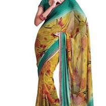 Asian Ethnic Cultural and Treditional Fancy Color Casual Wear Saree Sari 2861 Photo
