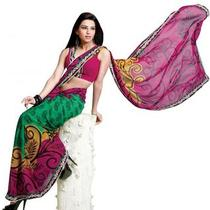 Asian Ethnic Cultural and Treditional Fancy Color Casual Wear Saree Sari 2857 Photo