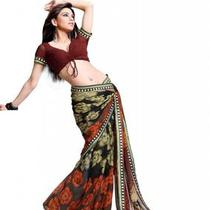 Asian Ethnic Cultural and Treditional Fancy Color Casual Wear Saree Sari 2851 Photo