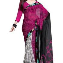 Asian Ethnic Cultural and Treditional Fancy Color Casual Wear Saree Sari 2830 Photo