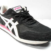 Asics Bengals Black White Pink Light Sneakers Casual Running Womens 10.5 Euc Photo
