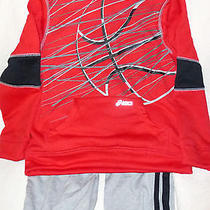 Asics Boys' 2-Piece Pant and Zip Up Hoodie Set- Red & Gray Size 7 Photo