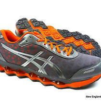 Asics G-3d.1 Running Shoes Sneakers for Men Size 8.5- Titanium / Silver / Orange Photo