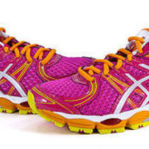 Asics Gel-Evate Womens Pink White Yellow Athletic Training Shoes 8 New Photo