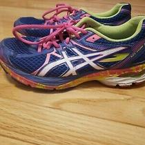 Asics Gel Flux 3 Athletic Running Sneakers  Blue Neon Yellow &   Pink Shoes 8.5 Photo