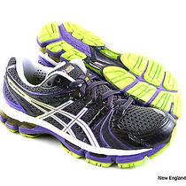 Asics Gel-Kayano 18 Running Shoes for Women Size 6 - Titanium / White / Purple Photo