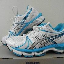 Asics Gel Kayano 18 Women's Running Shoes Size 5 (White / Island Blue / Black) Photo