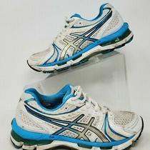 Asics Gel Kayano 18 Womens Running Shoes T250n White Blue Size 6 Photo