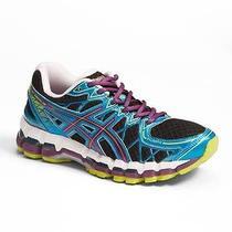 Asics Gel Kayano 20 Running Shoes Womens Sz 9.5 Black/plum/blue Excellent Photo