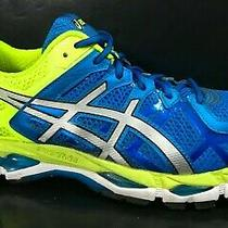 Asics Gel Kayano 21 Mens Size 10 Running Shoes Style T4h2n Blue Yellow Silver Photo