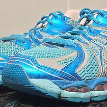 Asics Gel Nimbus 15 Women Sz 7 Blue Pink Reflective Lightweight Running Shoes 99 Photo