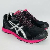 Asics Gel Scram Trail Running Shoes Women's Size 9.5 Black Silver & Pink T2j6q Photo