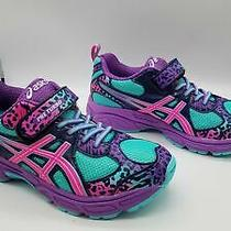 Asics Girls Pre Turbo Green/purple/pink Athletic Shoes Sz 1.5 Photo