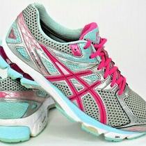 Asics Gt 1000 Women Running Shoe Sz 9 Silver Pink Aqua Blue T4k8n Photo