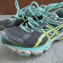 Asics Gt-1000 Women's Running Shoes Size 7 Us T4k8n Gray Green Yellow Sneakers Photo